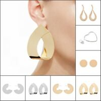 Chunky Metal Round Hoop Earrings For Women Large Circle Silver Earrings Fashion