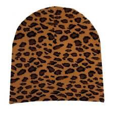 Brown Leopard Beanie Animal Print Knit Hat Punk Rock Snowboard Headgear