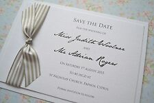 Luxury Beach Theme Save The Date cards Striped ribbon