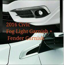 Genuine 2016 Honda Civic 10th Fog Light + Fender Chrome Garnish Bull Bar Trim EX