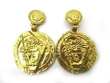 Authentic Excellent GIANNI VERSACE Medusa Earrings Gold Vintage Rare 48035