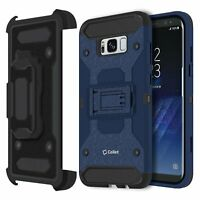 Heavy Duty Combo Case w/ Shell Holster & Kickstand for Samsung Galaxy S8 - Blue