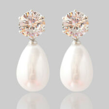 Wedding Bride Bridesmaid Crystal Rhinestone Pearl Ear Stud Dangle Drop Earrings