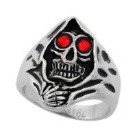 "Surgical Steel Biker Skull Ring Grim Reaper Head Red CZ Eyes 15/16"", sizes 9-15"