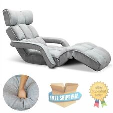 NEW Grey Floor Armchair Adjustable Lounge Chair W/ Arm Sofa Chaise Gaming Seat