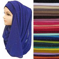 Fashion Women Shimmer Sparkle Plain Chiffon Muslim Hijab Scarf Shawl Head Wraps