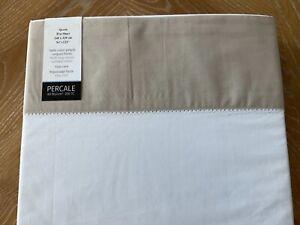 Anne De Solene~ELOGE~QUEEN~FLAT Sheet~Cotton PERCALE~White w/Beige sateen trim