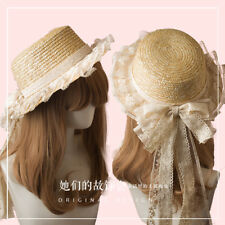 Vintage Fairy DIY Mori Girl Lace Bowknot Princess Straw Hat Women's Sweet Lolita