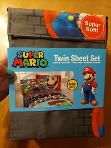 Super Mario Bros Super Soft Twin Sheet Set Bed Bedding Flat Fitted Standard