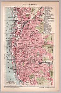 Liverpool - Alte Karte, Stadtplan von 1904 - Lithographie