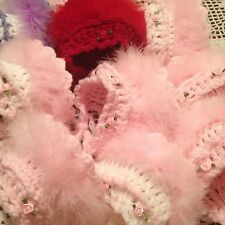 Hand crochet Baby Girls Hat Bonnet Maribou Fur... Newborn / Reborn