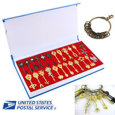24Pcs Cosplay Fairy Tail Lucy Anime Keys Necklace Pendant Keychain + Box XMAS