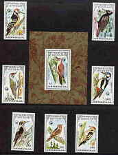 MONGOLIA 1986  WOODPECKER - BIRD STAMPS - MINT SET AND SHEET!