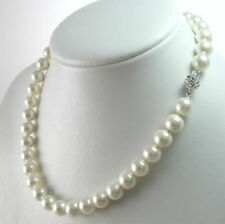 """8mm AAA+ White South Sea Shell Pearl Necklace 18"""" AAYP"""