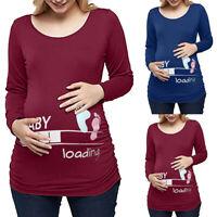 Women Pregnancy Long Sleeve Tops Tee Shirt Cartoon Letter Print Maternity Blouse