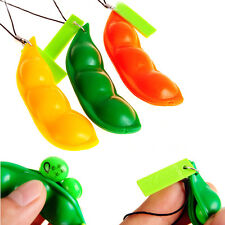 Cute Stylish Extrusion Pea Bean Soybean Edamame Stress Relieve Toy Keychain Cute