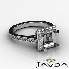 Diamond Engagement Platinum Halo Pave Proposed Ring Princess Semi Mount 0.5Ct
