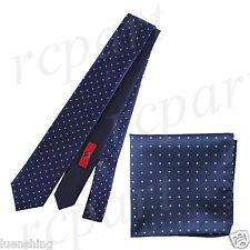 New Men's Brand Q Microfiber Reversible Necktie Hankie Set Dots Navy Light Blue