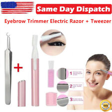 Eyebrow Trimmer Electric Razor + Tweezer For Women's Facial Hair Nose Neck USA