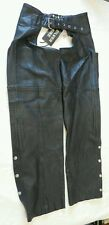 Silver Bike Black Leather Motorcycle Chaps Size Small NWT