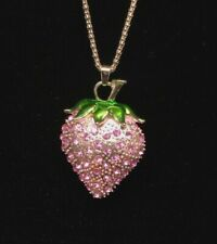 Betsey Johnson Necklace Strawberry Brooch Pin Gold Pink Crystals Gift Box Bag LK