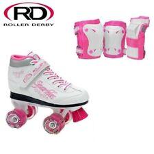 ROLLER DERBY SPARKLES GIRLS/KIDS ROLLER/QUAD SKATES LIGHTED WHEELS+GUARDS-US5
