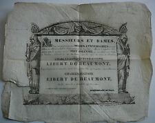 Charles LIBERT de BEAUMONT. Obit Solennel. Périnchies. St André. Flandres. 1833.