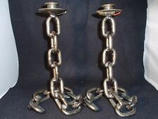 Italian - Heavy Metal - Chain Link - Candle Stick Holders - Pair