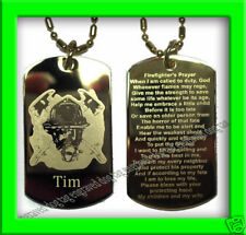 FIREFIGHTER PRAYER GOLD ENGRAVED DOG TAG + FREE NAME