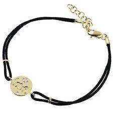Diamond Love Charm Link Bracelet 14k Yellow Gold Adjustable Length