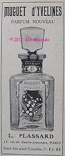 PUBLICITE PARFUM L. PLASSARD MUGUET D'YVELINES FLACON DE 1910 FRENCH ADVERT AD