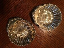 Pair Antique Sterling Silver Nut Dishes Unusual Scallop Shell Pattern 27g Each