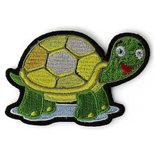 Embroidered Cute Turtle Happy Iron on Sew on Kids Patch