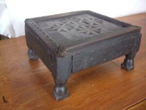 Antique Victorian Rustic Carved Dark Oak Wood Foot Stool for restoration