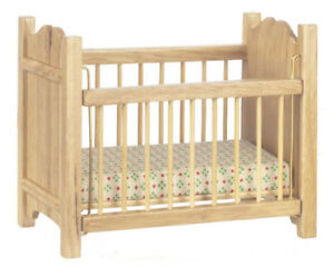 Dolls House Miniature 1:12th Scale Oak Cot With Mattress