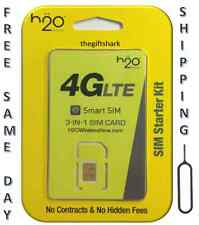 H2O H20 WIRELESS Micro SIM CARD WORKS w/ AT&T & UNLOCKED PHONES. Free Ejector!