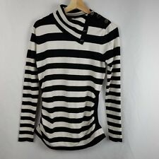 Cache Womens Sweater Size L Black White Striped Ruched Sides