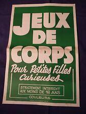 Affiche originale années 70/80 film porno JEUX DE CORPS POUR PETITES FILLES ...