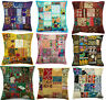 Indian Handmade Home Decor Floor Pillow Vintage Patchwork Cushion Cover 40x40cms
