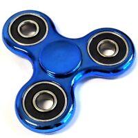 1 Finger Hand Fidget Spinner blue metallic Präzisionskugellager ADHS Top Spin A