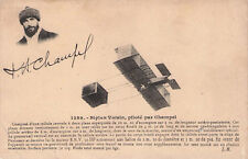 Seltene Foto-AK ca 1907@Doppeldecker/Biplan Voisin mit Pilot Florentin Champel