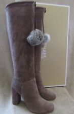 MICHAEL KORS Remi Tall Taupe Suede & Rabbit Fur Boots Shoes US 8.5 EUR 39 NWB