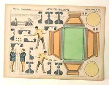 Imagerie D'Epinal No 885 Jeu de Billiard, Moyennes Constructions toy paper model