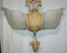 AWESOME ANTIQUE/VINTAGE ART DECO 2 LIGHT SLIP SHADE CHANDELIER w/ORIGINAL PAINT