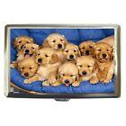 Golden Retriever Puppies Cigarette Money Credit Card Case Box