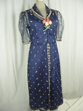 Vtg 30-40s Navy Blue Floral Embroidery Lace Net 2 pcs Dress-Bust 38/S