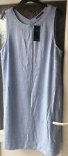 M&S CHAMBRAY BLUE LINEN BLEND SLEEVELESS SHIFT DRESS SIZE 18 LONG BNWT