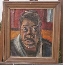 Young Black Man Looking to One Side-Oil Painting-1950s-I.Louis Winarsky- Newark