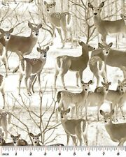 THE GREAT NORTH ~ WILDERNESS WHITETAIL DEER WINTER SNOW FABRIC