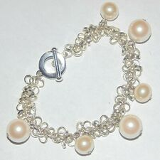 Signed Carolee faux pearl dangles silver tone loops chain toggle clasp bracelet